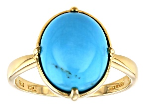 Blue Sleeping Beauty Turquoise 10k Yellow Gold Ring