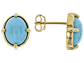 Blue Sleeping Beauty Turqoise 10k Yellow Gold Stud Earrings