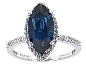 London Blue Topaz 10k White Gold Ring 3.30ctw