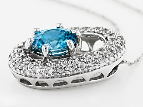 Blue Zircon 10k White Gold Pendant With Chain 1.36ctw
