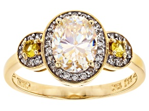 White Fabulite Strontium Titanate And Yellow Sapphire with White Zircon 10k Yellow Gold Ring 1.94ctw