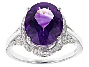 Purple Moroccan Amethyst 10k White Gold Ring 4.09ctw