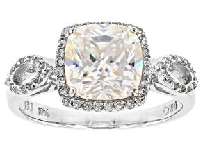 White Fabulite Strontium Titanate And White Zircon 10k White Gold Ring 3.33ctw