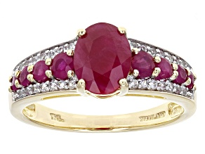 Red Burmese Ruby 14k Yellow Gold Ring 1.99ctw