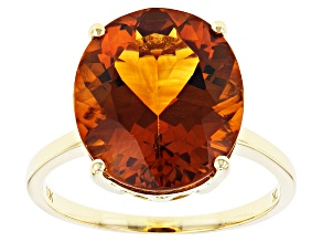 Orange Madeira Citrine 10k Yellow Gold Solitaire ring 5.31ct
