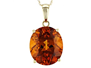 Orange Madeira Citrine Solitaire 10k Gold Pendant With Chain 5.31ct