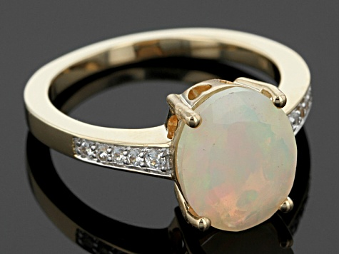 White Ethiopian Opal 10k Yellow Gold Ring 1.80ctw