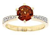 Orange Malaya Garnet 10k Yellow Gold Ring 1.54ctw
