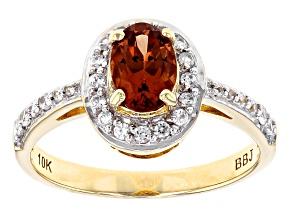 Orange Malaya Garnet 10k Yellow Gold Ring 1.11ctw