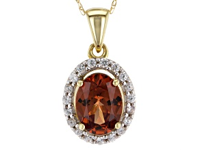 Orange Malaya Garnet 10k Gold Pendant With Chain 1.42ctw