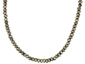 Womens Bead Necklace Faceted Pyrite Sterling Silver 18 inch