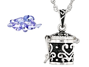 "Tanzanite Mixed Shape Faceted Stones in Sterling Silver ""Prayer Box"" Pendant With Chain 1.50ctw"