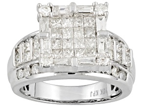 Diamond 2.25ctw Princess Cut Round And Baguette 10k White Gold Ring