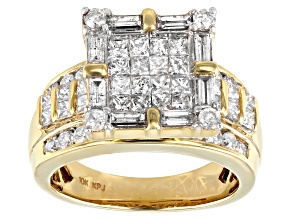 2.25ctw Princess Cut, Round, Baguette Genuine Diamond 10k Yellow Gold Ring
