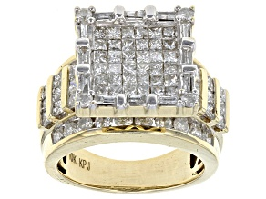 Womens Ring Diamond 3ctw Round Baguette Princess Cut 10k Yellow Gold