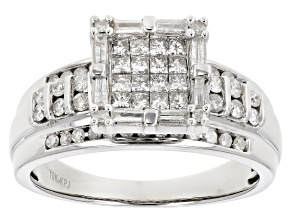 White Diamond 10k White Gold Quad Ring 1.00ctw