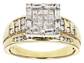 Diamond 10k Yellow Gold Quad Ring 1.00ctw