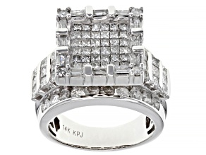 White Diamond 14k White Gold Quad Ring 3.00ctw