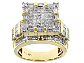 White Diamond 14k Yellow Gold Quad Ring 3.00ctw