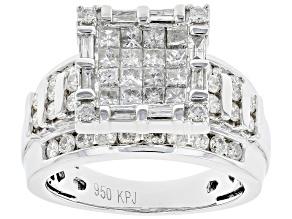 White Diamond Platinum Quad Ring 1.75ctw