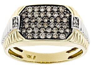 Champagne And White Diamond 10K Yellow Gold Gents Ring .62ctw