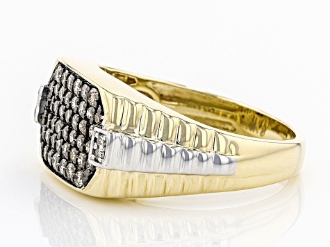 Champagne And White Diamond 10K Yellow Gold Mens Ring .62ctw