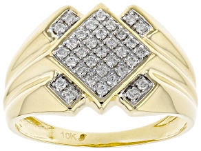 White Diamond 10K Yellow Gold Mens Ring .27ctw