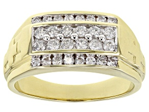 White Diamond 10K Yellow Gold Mens Ring .75ctw