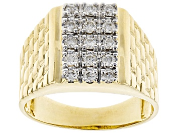 Picture of White Diamond 10K Yellow Gold Mens Ring .50ctw
