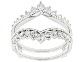 White Diamond 14K White Gold Ring Guard 1.00ctw