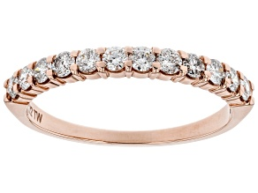 White Diamond 14k Rose Gold Band Ring 0.50ctw