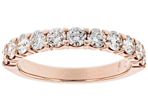 White Diamond 14k Rose Gold Band Ring 1.00ctw