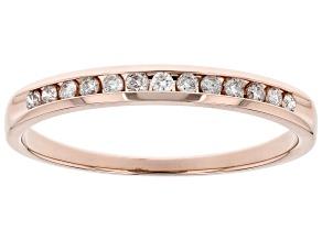 White Diamond 14k Rose Gold Band Ring 0.15ctw