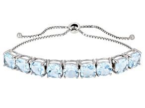 Blue topaz rhodium over silver bracelet 18.00ctw