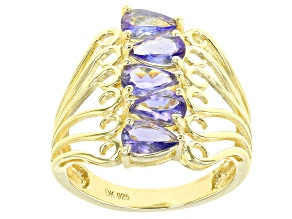 Blue tanzanite 18k yellow gold over silver 5-stone ring 1.70ctw