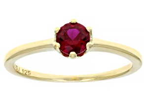 Scott's holiday collection Red lab created ruby 18k yellow gold over silver solitaire ring .50ct
