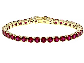 Red lab created ruby 18k yellow gold over silver bracelet 17.46ctw