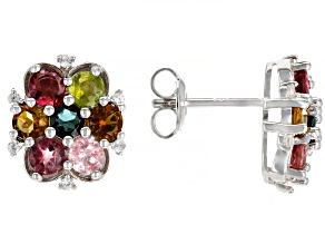 Multi-Color Tourmaline Rhodium Over Silver Earrings 2.19ctw