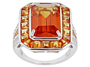 Orange Lab Created Padparadscha Sapphire Rhodium Over Silver Ring 12.24ctw