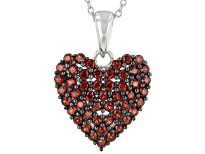 Red garnet rhodium over sterling silver cluster  pendant with chain 1.96ctw