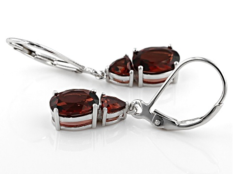 Red Garnet Rhodium Over Silver Earrings 3.68ctw