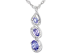 Blue tanzanite rhodium over silver pendant with chain .71ctw
