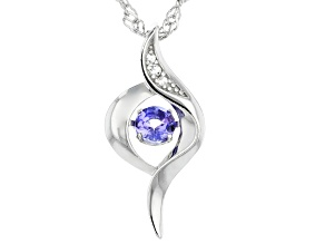 Blue tanzanite rhodium over silver pendant with chain .027ctw