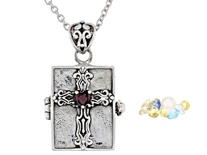 Red Garnet Rhodium Over Sterling Silver Prayer Box Pendant with Chain .10ct