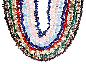 Multi-Color Assorted Gemstone Set of 10 Endless Strand Necklaces