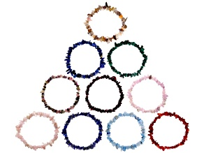 Multi-Gemstone Nugget and Chip Stretch Bracelets Set of 10