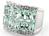 Green Lab Created Spinel Rhodium Over Silver Ring 4.25ctw
