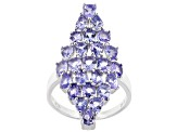 Blue tanzanite rhodium over sterling silver ring 3.69ctw