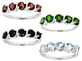 Multi color single gemstone rhodium over sterling silver set of 4 rings 6.40ctw