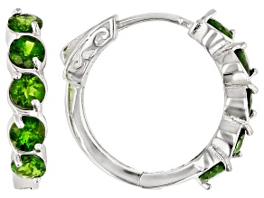 Green chrome diopside rhodium over sterling silver hoop earrings 2.52ctw